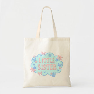 Little Sister Flower Butterfly Blue Design Tote