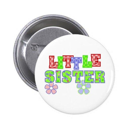 Little Sister Flowers Pinback Button