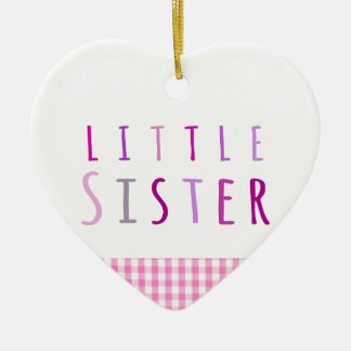 Little sister in pink ceramic heart decoration