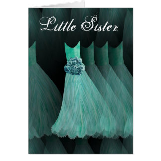 LITTLE SISTER Maid of Honor AQUA BLUE Gown Card