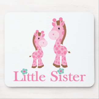 Little Sister Pink and Brown Giraffes Mouse Pads