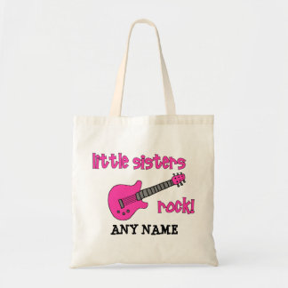Little Sisters Rock with Pink Guitar Tote Bags
