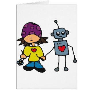Little Skater Girl and Robot Love Card