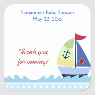 Little Skipper Sail Boat Square Favor Sticker
