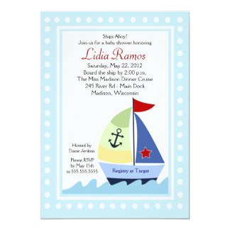 Little Skipper Sailboat 5x7 Baby Shower Invitation