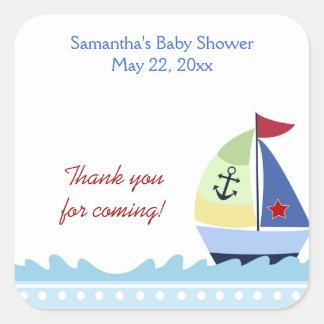 Little Skipper Sailboat (Blue)SQUARE Favor Sticker