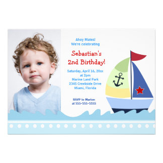 Little Skipper Sailboat PHOTO Birthday 5x7 Personalized Announcements