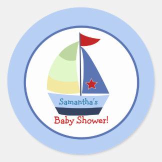 Little Skipper Sailboat Round Custom Favor Sticker