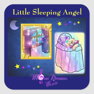 Little Sleeping Angel Square Stickers