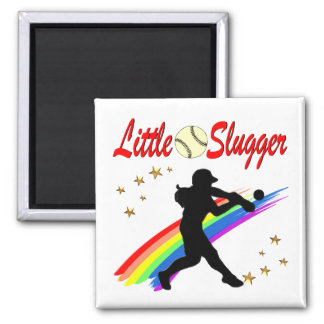 LITTLE SLUGGER GIRLS SOFTBALL DESIGN SQUARE MAGNET