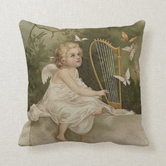 Little Smiling Angel with Butterflies and Harp Cushion