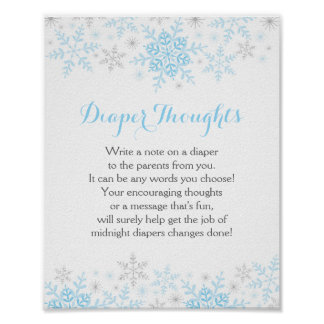 Little Snowflake Baby Shower Diaper Thoughts Sign