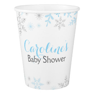 Little Snowflake Baby Shower Paper Cup Blue Silver