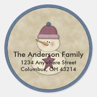 Little Snowman D3 Return Address Labels Round Sticker