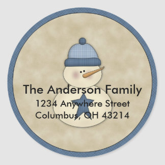 Little Snowman D4 Return Address Labels Round Sticker