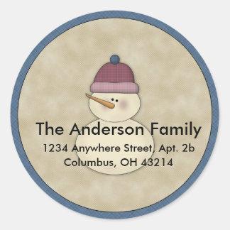 Little Snowman Winter Return Address Labels Round Sticker