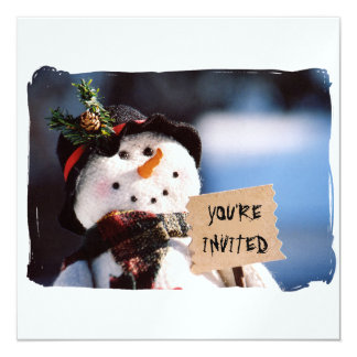 Little Snowman With Customizable Sign 13 Cm X 13 Cm Square Invitation Card