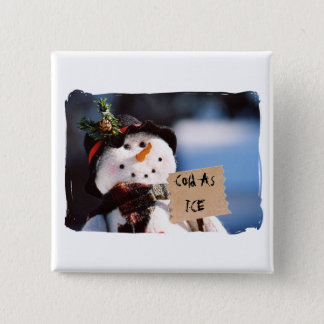 Little Snowman With Customizable Sign 15 Cm Square Badge