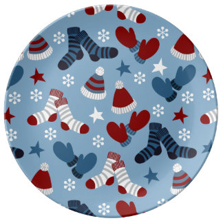 Little Socks, Hats, Mittens Holiday Pattern Porcelain Plate
