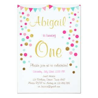 Little sparkle pink gold mint birthday invitation