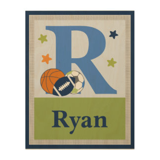 Little Sport Player Initial Name Plaque Wood Wall Decor