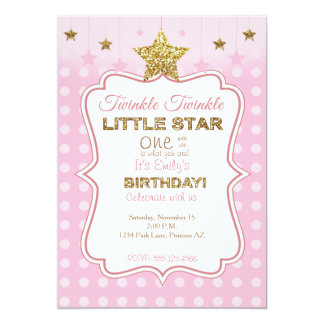 Little Star birthday invitation in pink and gold