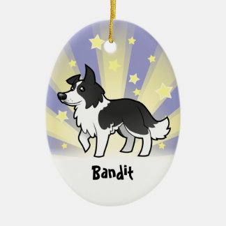 Little Star Border Collie (add your pets name) Ceramic Oval Decoration