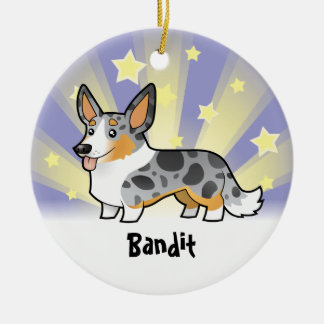 Little Star Cardigan Welsh Corgi (add pets name) Round Ceramic Decoration
