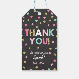 Little star Gift tags thank you Gold pink Mint