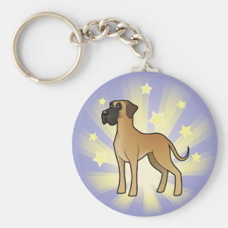 Little Star Great Dane Basic Round Button Key Ring