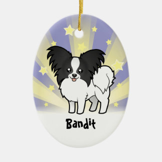 Little Star Papillon (add your pets name) Ceramic Oval Decoration