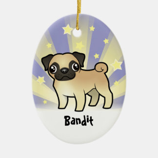 Little Star Pug (add your pets name) Ceramic Oval Decoration