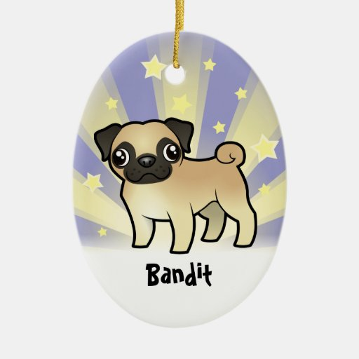 Little Star Pug (add your pets name) Christmas Ornaments