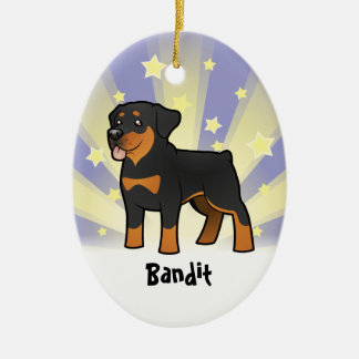 Little Star Rottweiler (add your pets name) Ceramic Oval Decoration