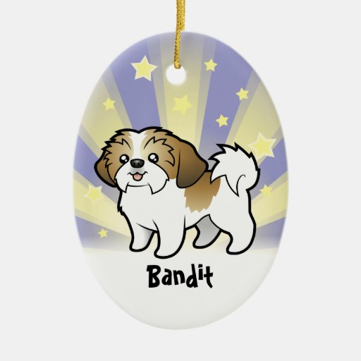 Little Star Shih Tzu (puppy cut) (add pets name) Christmas Ornament