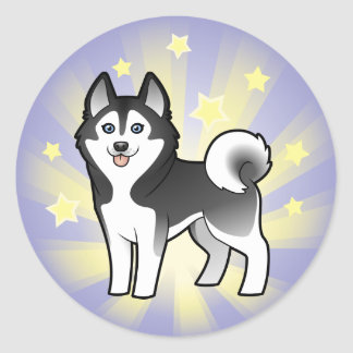 Little Star Siberian Husky / Alaskan Malamute Round Sticker