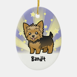 Little Star Yorkshire Terrier (short hair no bow) Double-Sided Oval Ceramic Christmas Ornament
