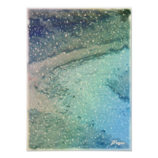 Little Stream Digital Art Abstract Photo Blue Snow Poster
