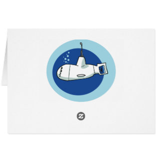 little submarine cartoon style illustration card