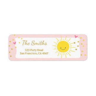 Little sunshine Address Labels Summer Pink Gold