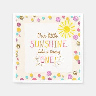 Little sunshine Paper Napkin Pink Gold Lemonade