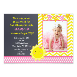 Little Sunshine Photo Birthday Party Invitation