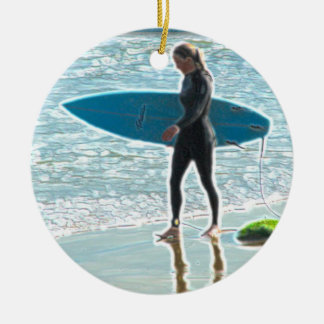 Little Surfer Girl Ceramic Ornament
