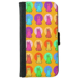 little sweet kitties festive color tiled pattern iPhone 6 wallet case