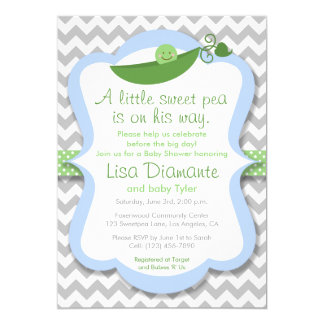 Little Sweet Pea Boy Baby Shower Invitation