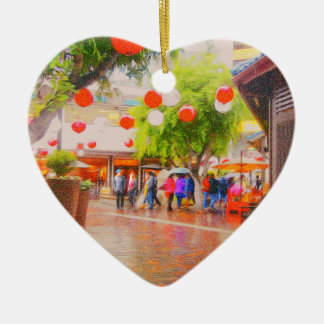 Little Tokyo Japanese village Painting Ceramic Heart Decoration