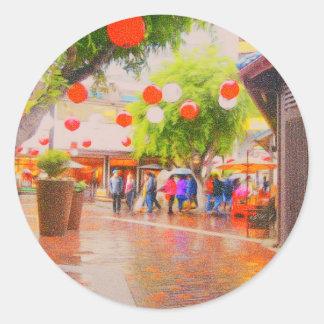 Little Tokyo Japanese village Painting Classic Round Sticker