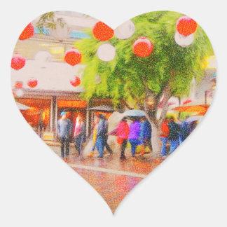 Little Tokyo Japanese village Painting Heart Sticker