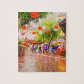 Little Tokyo Japanese village Painting Jigsaw Puzzle