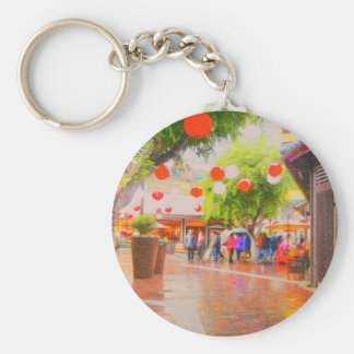 Little Tokyo Japanese village Painting Key Ring